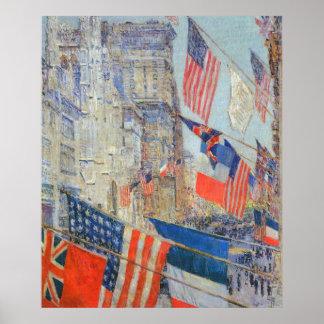 Aliados día mayo de 1917 Hassam impresionismo Posters
