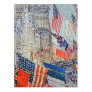 Aliados día mayo de 1917 Hassam impresionismo Tarjetas Postales