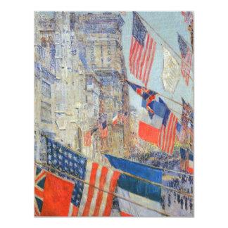 """Aliados día, mayo de 1917 por Childe Hassam, arte Invitación 4.25"""" X 5.5"""""""