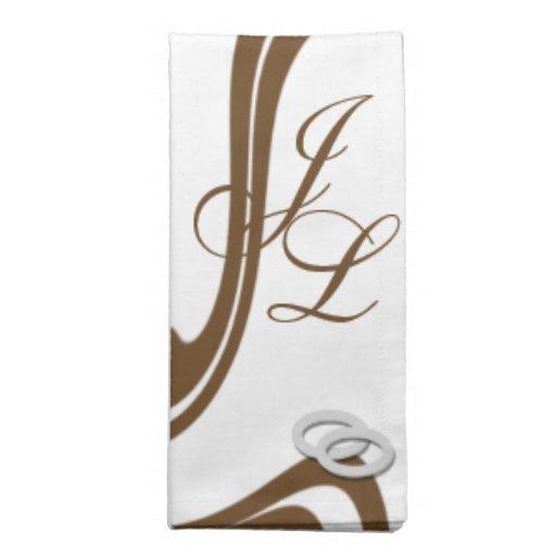 Alianzas de boda de plata cones monograma de los p servilleta imprimida