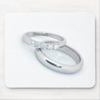 Alianzas de boda de plata/reserva la fecha alfombrilla de raton