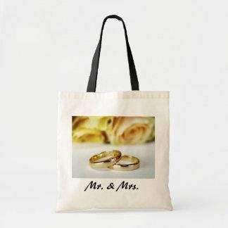 Alianzas de boda de Sr. y de la señora/del oro Bolsas