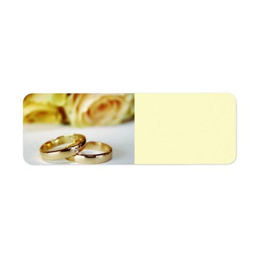 Alianzas de boda del oro etiquetas de remite