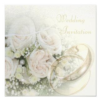 Alianzas de boda, rosas, palomas y cordón de lino comunicados personalizados