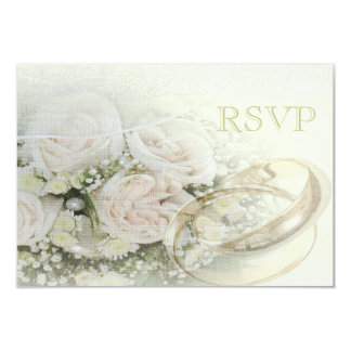 """Alianzas de boda, rosas, palomas y cordón RSVP Invitación 3.5"""" X 5"""""""