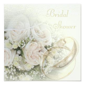 """Alianzas de boda, rosas, palomas y ducha nupcial invitación 5.25"""" x 5.25"""""""