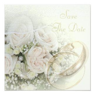 """Alianzas de boda, rosas, palomas y reserva del invitación 5.25"""" x 5.25"""""""