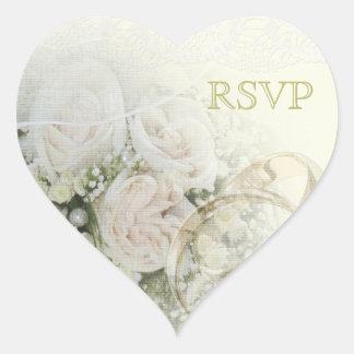 Alianzas de boda, rosas y cordón RSVP Pegatina En Forma De Corazón