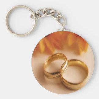Alianzas de boda y girasol de oro llavero redondo tipo pin