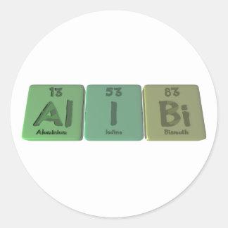 Alibi-Al-I-Bi-Aluminium-Iodine-Bismuth Classic Round Sticker