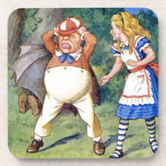 Alice and an angry Tweedledum in Wonderland Beverage Coasters