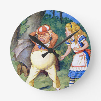 Alice and an angry Tweedledum in Wonderland Round Wallclocks