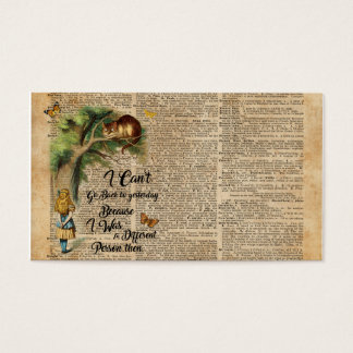 Alice and Cheshire Cat Quote Dictionary Art Business Card
