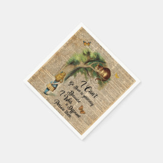 Alice and Cheshire Cat Quote Dictionary Art Napkin