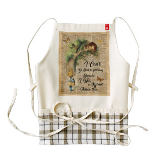 Alice and Cheshire Cat Quote Dictionary Art Zazzle HEART Apron