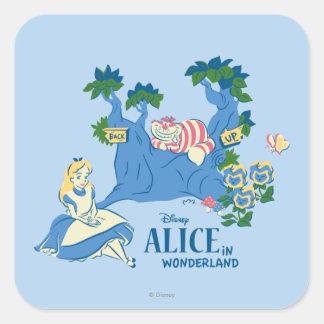 Alice and Cheshire Cat Square Sticker