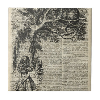 Alice and Cheshire Stencil Art On Old Book Page Ceramic Tile