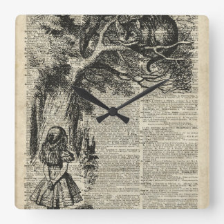 Alice and Cheshire Stencil Art On Old Book Page Square Wallclock