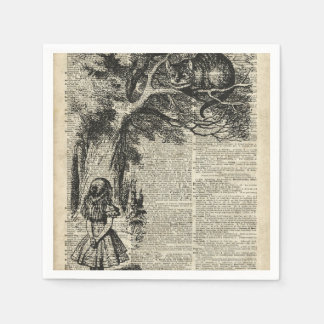 Alice and Cheshire Stencil Art On Old Book Page Paper Napkin