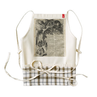 Alice and Cheshire Stencil Art On Old Book Page Zazzle HEART Apron