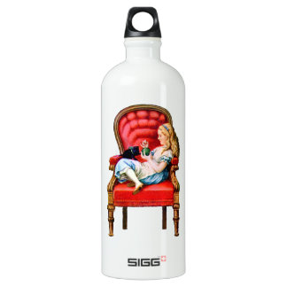 Alice and Dinah from Through The Looking Glass Aluminum Water Bottle