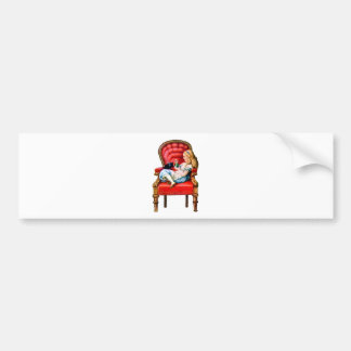 Alice and Dinah from Through The Looking Glass Bumper Sticker