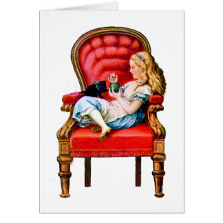 Alice and Dinah from Through The Looking Glass Card