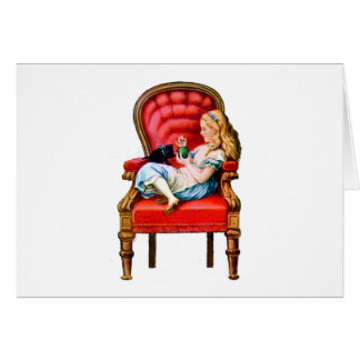 Alice and Dinah from Through The Looking Glass Greeting Card