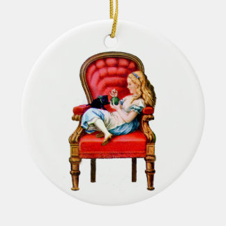 Alice and Dinah from Through The Looking Glass Ceramic Ornament