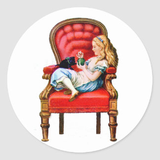 Alice and Dinah from Through The Looking Glass Classic Round Sticker