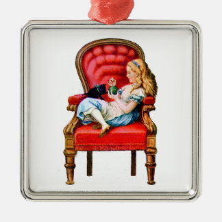 Alice and Dinah from Through The Looking Glass Metal Ornament