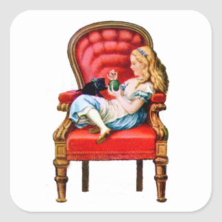 Alice and Dinah from Through The Looking Glass Square Sticker