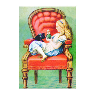 Alice and Dinah in the Big Red Chair Gallery Wrap Canvas