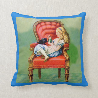 Alice and Dinah in the Big Red Chair In Wonderland Throw Pillow