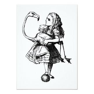 Alice and Flamingo Inked Black 5x7 Paper Invitation Card