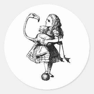 Alice and Flamingo Inked Black Classic Round Sticker