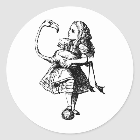Alice and Flamingo Inked Black Classic Round Sticker