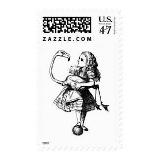 Alice and Flamingo Inked Black Postage