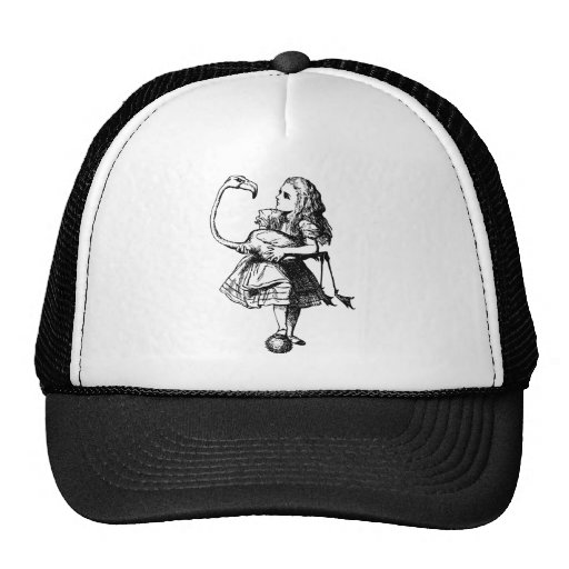 Alice and Flamingo Inked Black Trucker Hats