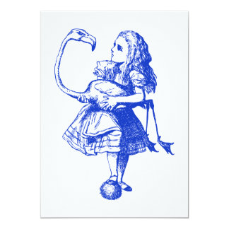 Alice and Flamingo Inked Blue 5x7 Paper Invitation Card