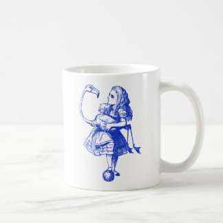 Alice and Flamingo Inked Blue Coffee Mug