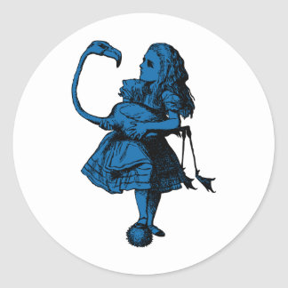 Alice and Flamingo Inked Blue Fill Classic Round Sticker