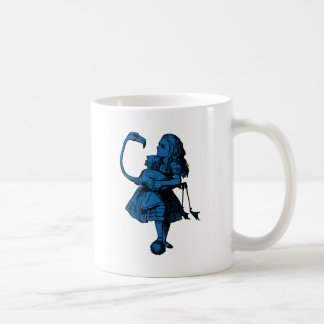 Alice and Flamingo Inked Blue Fill Coffee Mug
