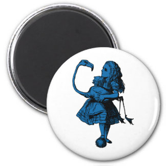 Alice and Flamingo Inked Blue Fill Magnets