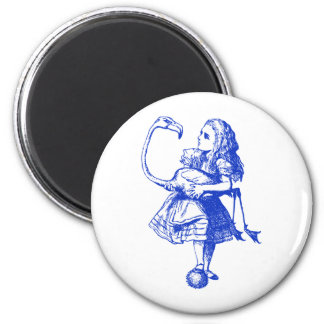 Alice and Flamingo Inked Blue Magnets