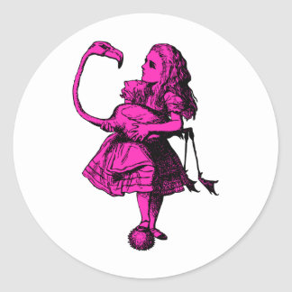 Alice and Flamingo Inked Pink Fill Classic Round Sticker