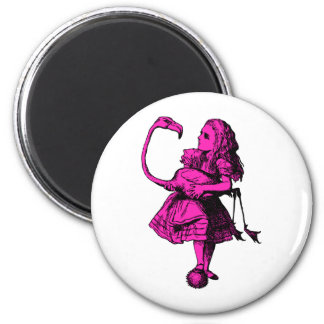 Alice and Flamingo Inked Pink Fill Magnets