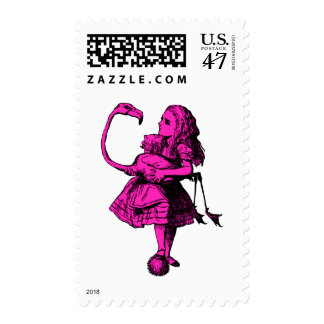 Alice and Flamingo Inked Pink Fill Postage