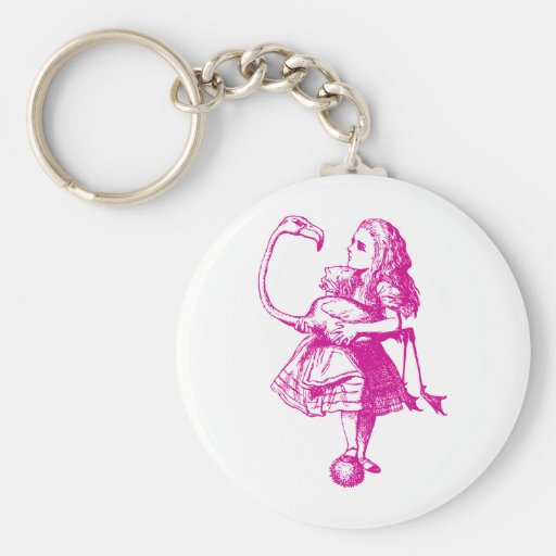 Alice and Flamingo Inked Pink Keychains