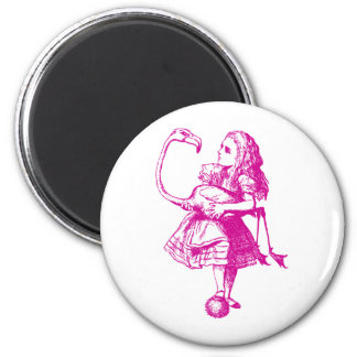 Alice and Flamingo Inked Pink Magnets